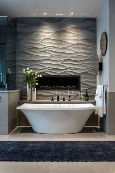 3D Wavy Accent Wall Tiles bathroom ideas