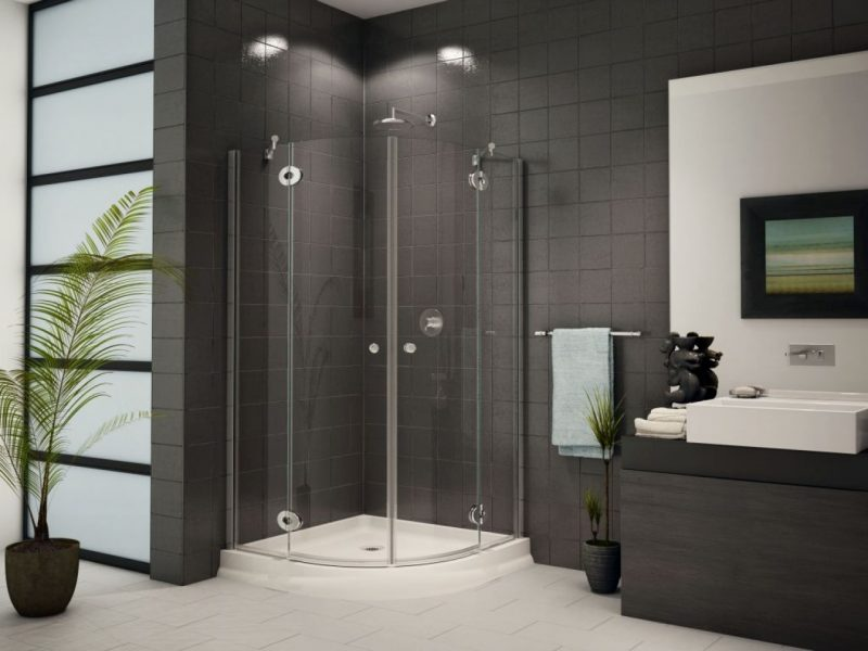 Elegant Black Corner Shower Enclosure