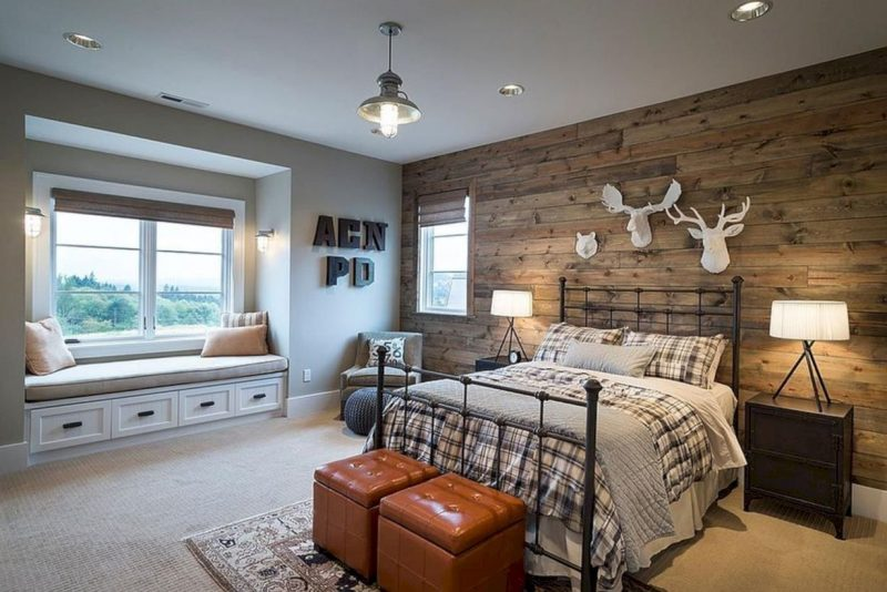Farmhouse Bedroom Decor Tongue-and-Groove Accent Wall