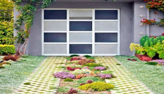 A Pavers Driveway with Colorful Garden
