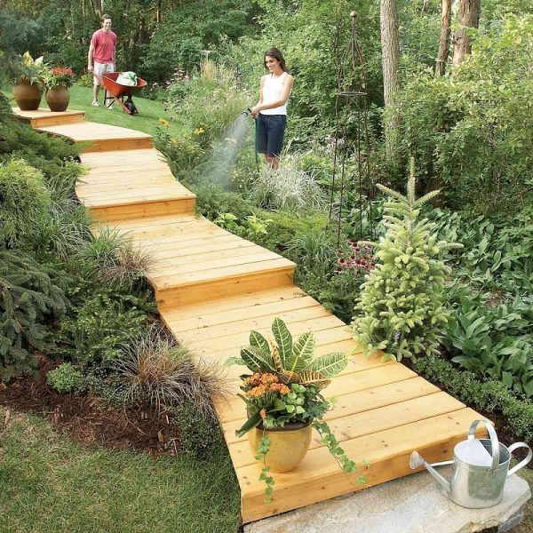 pathway garden ideas Wooden Path